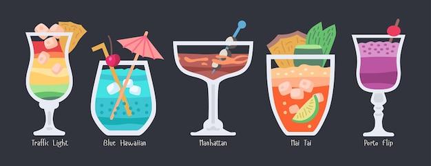 Collection de cocktails de fruits alcoolisés. boissons de fête d'été de plage isolées