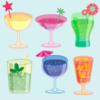 Collection de cocktails plats