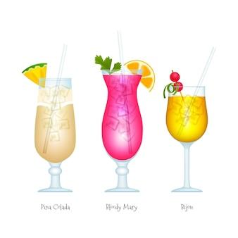 Collection de cocktails réalistes