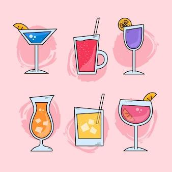 Collection de cocktails de style dessiné à la main