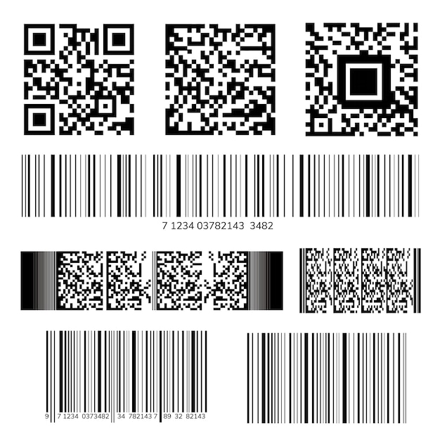 Collection de codes à barres et de codes qr