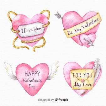 Collection coeur aquarelle valentine