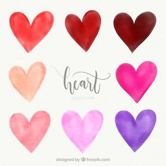 Collection de coeur aquarelle