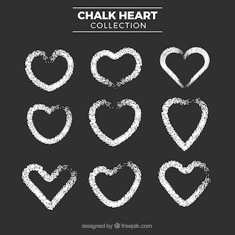 Collection de coeur de craie
