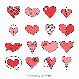 Collection coeur dessiné à la main