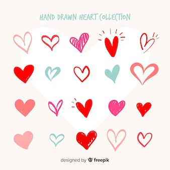 Collection coeur dessiné à la main