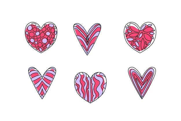 Collection de coeur dessiné à la main
