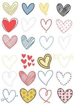 Collection de coeur doodle dessiné à la main