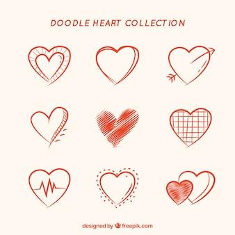Collection de coeur de doodle