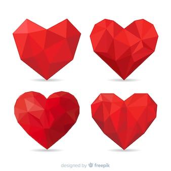 Collection Coeur Origami Vecteur Premium