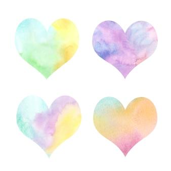 Collection de coeurs dégradé aquarelle.