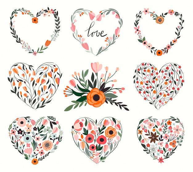 Collection de coeurs floraux