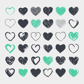 Collection de coeurs mignons au crayon dessinés à la main