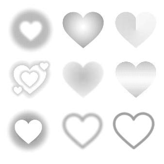 Collection de coeurs en noir et blanc