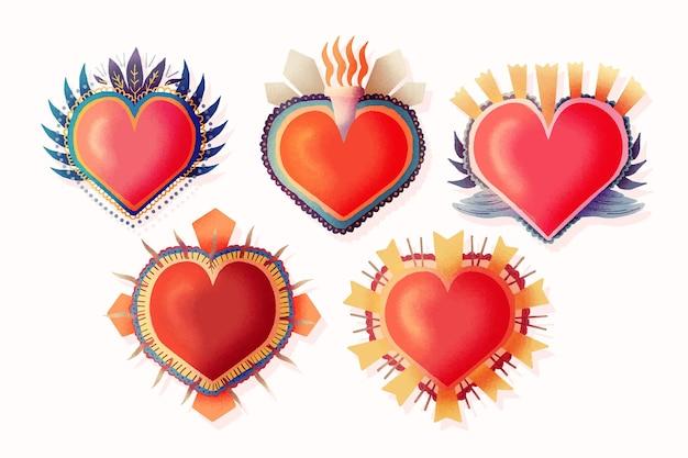 Collection de coeurs sacrés rouges