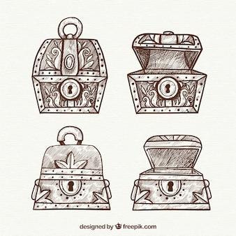 Collection de coffre au trésor antique avec un design plat