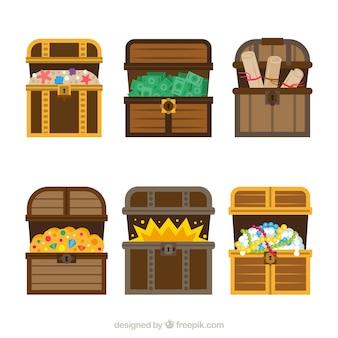 Collection de coffre au trésor en bois avec un design plat