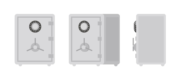 Collection de coffre-fort ou coffre-fort isolé sur blanc