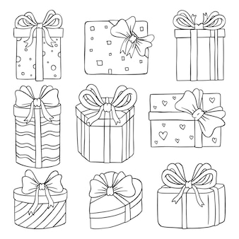 Collection de coffrets cadeaux doodle dessinés à la main