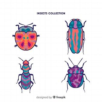 Collection de coléoptères dessinés à la main