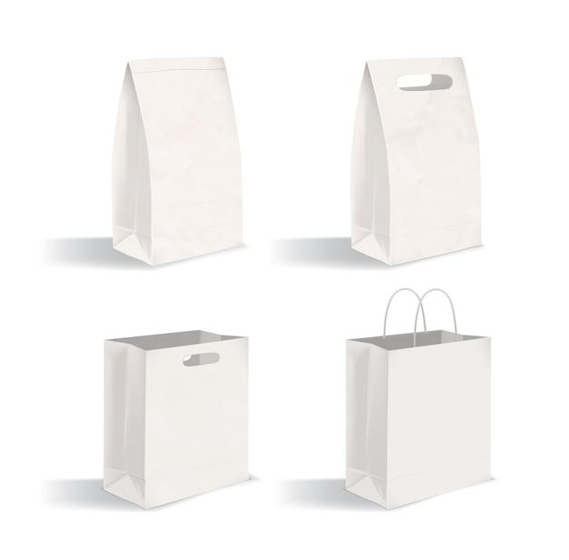 Collection de colis propres isolés sur fond blanc. ensemble de sacs en papier vierges avec et sans poignées. lot de maquettes. illustration vectorielle pour la publicité, démonstration d'identité d'entreprise.