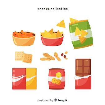 Collection de collations colorées avec un design plat