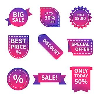 Collection de collection d'étiquettes de vente colorées
