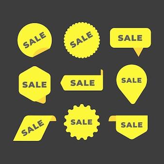 Collection de collection d'étiquettes de vente jaune