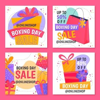 Collection De Collection De Publications Instagram Jour De Boxe Vecteur gratuit
