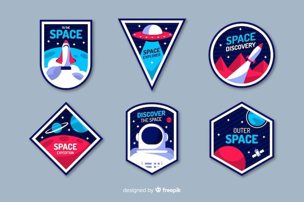 Collection colorée d'autocollants de l'espace