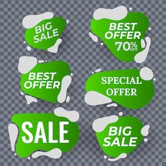 Collection colorée d'autocollants et d'étiquettes de vente modernes