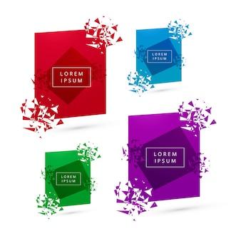 Collection colorée de bannière moderne cassée