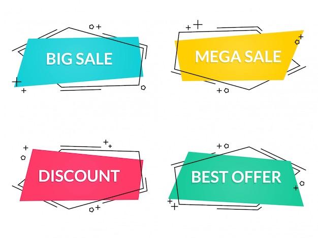 Collection colorée de bannières de vente abstraites