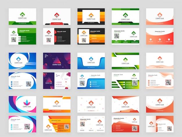 Collection colorée de carte de visite horizontale