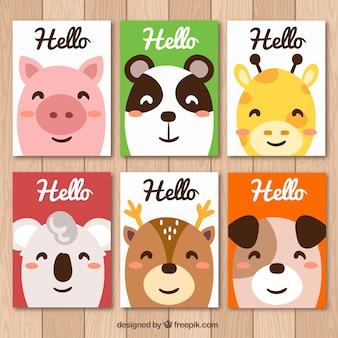 Collection colorée de cartes d'animaux souriants