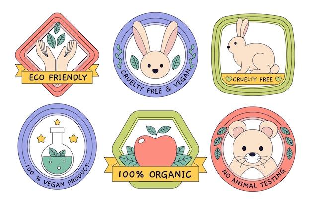 Collection colorée de conception plate de badges sans cruauté envers les animaux