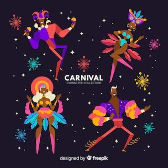 Collection colorée de danseurs de carnaval