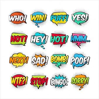 Collection colorée de dessin animé texte ballon
