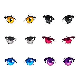 Collection colorée détaillée d'oeil d'anime