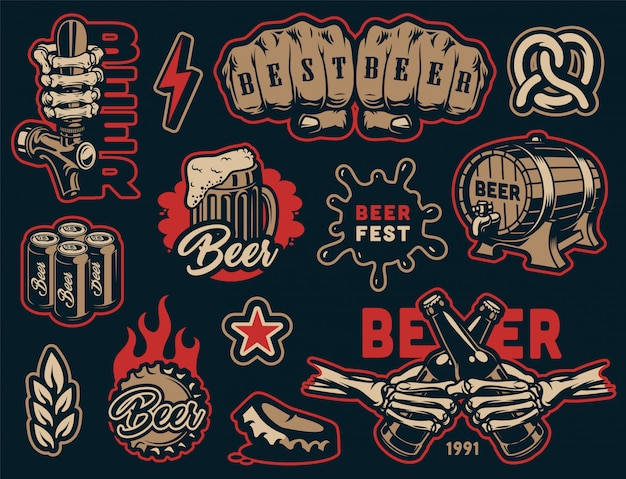 Collection colorée d'éléments de bière vintage