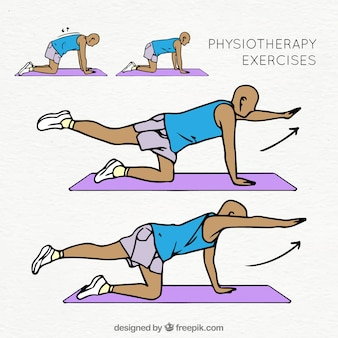 Collection colorée d'exercices de physiothérapie