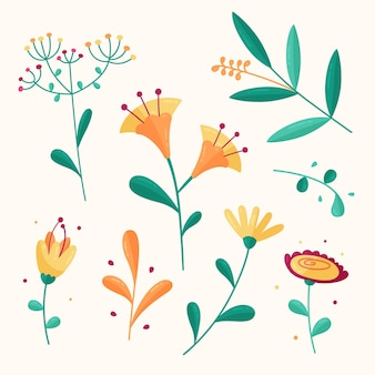 Collection colorée de fleurs de printemps