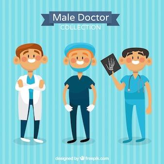 Collection colorée de médecins souriants