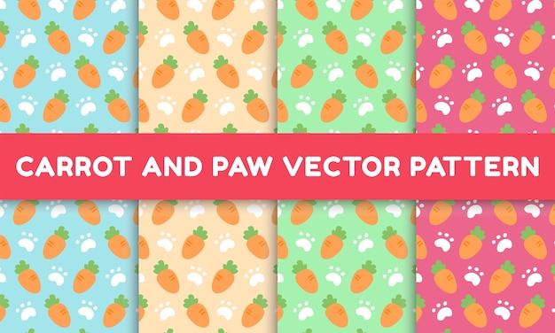 Collection colorée de motifs adorables carottes et pattes
