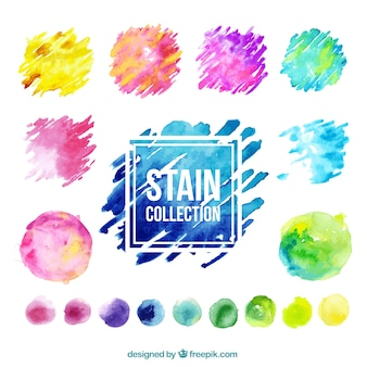 Collection colorée de tache aquarelle
