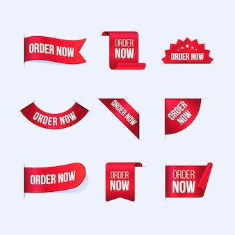 Collection de commandes créatives maintenant étiquettes