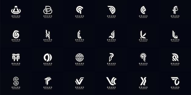 Collection complète de la lettre abstraite a - z conception de modèle de logo monogramme