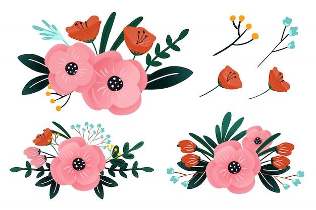 Collection de compositions florales de fleurs roses pour mariage