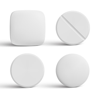 Collection de comprimés en forme de capsule isolated on white