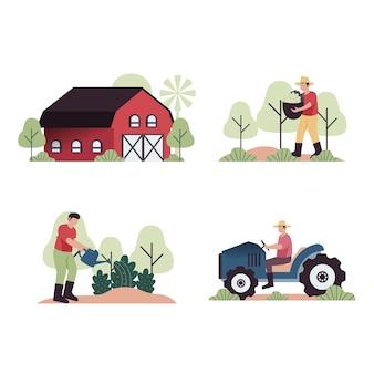 Collection de concept d'agriculture biologique